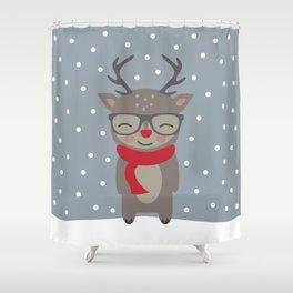 Merry Christmas Deer Shower Curtain