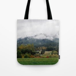 Foggy day in Woodland Tote Bag