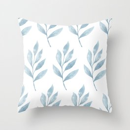 Blue Watercolor Leaves Throw Pillow