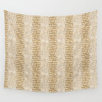 gold glitter Wall Tapestries featuring Gold Glitter Alligator Print by Zen and Chic