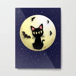 Cat and Bats Metal Print