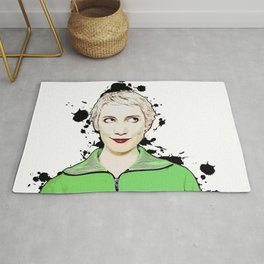 Portrait of Women Looking Up Vector Pop Art illustration Rug