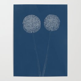 Onion Flower Blueprint Poster