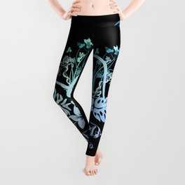 Surfing, tropical design with surfboard and flowers Leggings