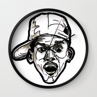 fresh prince Wall Clocks featuring Prince Breath of Fresh Air by sketchnkustom