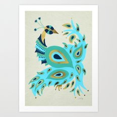 Peacock – Turquoise & Gold Art Print