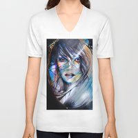 mirror V-neck T-shirts featuring mirror by Alexandra Vassile