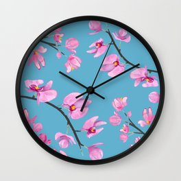 Watercolour Orchids VII Wall Clock
