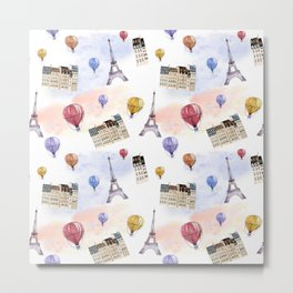 Watercolor pattern with balloons and the Eiffel Tower Metal Print