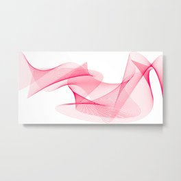 Overlapping Lines Abstract Pattern In Pink Metal Print