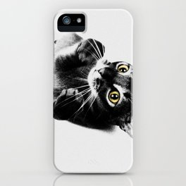 Cute Abyssinian cat  black and white iPhone Case