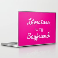 literature Laptop & iPad Skins featuring literature is my boyfriend pink by Beautiful Bibliophile's Boutique