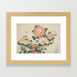 Chrysanthemums and Bee Japanese Woodblock Framed Art Print