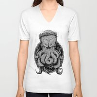 cthulu V-neck T-shirts featuring The Octopus KIng by StinkBrain