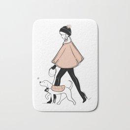Winter Walk with my Pup Fashion Illustration Bath Mat