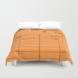 Library Card 797 Orange Duvet Cover