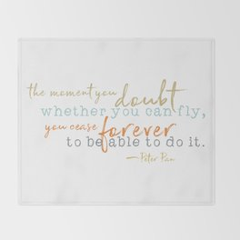 Nostalgic Inspirational Quote Storybook Quote from Peter Pan Throw Blanket