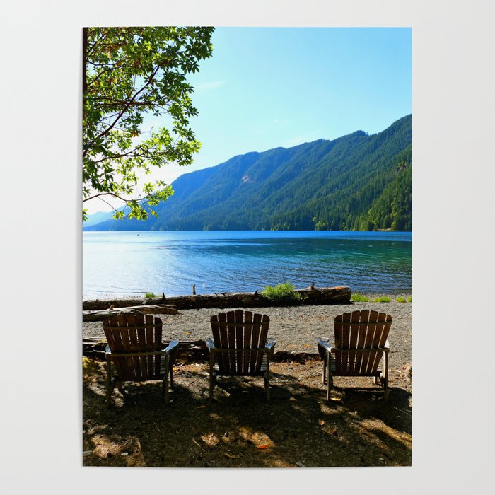 Adirondack Chairs at Lake Cresent Poster by christianeschulze