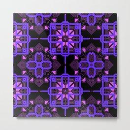 Purple Lilac Techno Shapes Pattern Metal Print