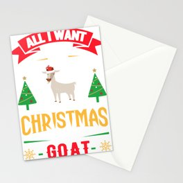 Ugly Sweater All I Want for Christmas is a Goat Stationery Cards