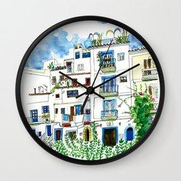 Dalt Vila houses from Ibiza - Calle de la Carrossa Wall Clock