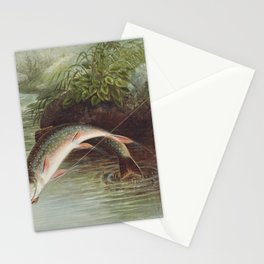 Leaping Brook Trout Stationery Cards