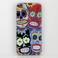 sugar skulls iPhone & iPod Skins featuring Sugar Skulls by Lucy Train
