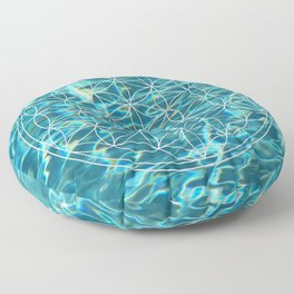Flower of life in the water Floor Pillow