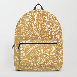 Golden Mustard Yellow Orange Ethnic Mandala Detailed Backpack