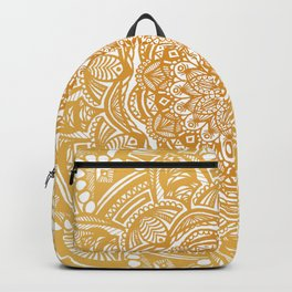 Golden Mustard Yellow Orange Ethnic Mandala Detailed Backpack
