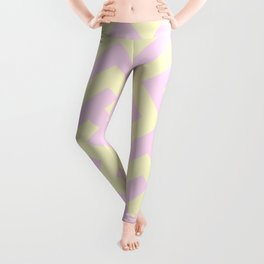 Cream Yellow and Pink Lace Diagonal Labyrinth Leggings