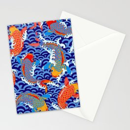 Koi fish / japanese tattoo style pattern Stationery Cards