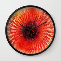 poppy Wall Clocks featuring Poppy by Klara Acel