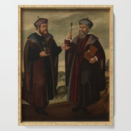 SS. Cosmas and Damian in a landscape. Oil painting, 17th c. Serving Tray