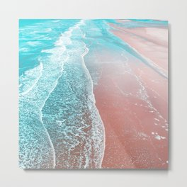 Sea Blue + Rose Gold Metal Print
