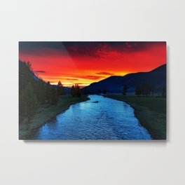 Yellowstone National Park River and Mountain Sunset Metal Print