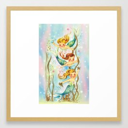 Mermaids Pastel Sparkles Framed Art Print