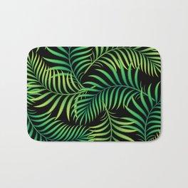 Night Jungle. Tropical Pattern / Palm leaves Bath Mat