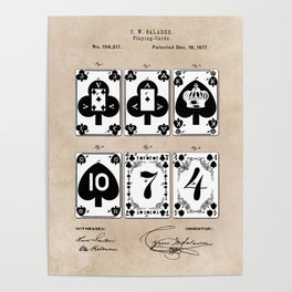 patent Playing cards 1877 Saladee Poster