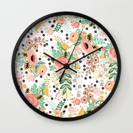 Autumn Floral Pattern Wall Clock