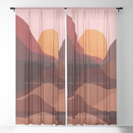 Abstraction_Mountains_SUNSET_Minimalism Sheer Curtain