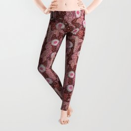 Cacti Camo Floral Camouflage Pattern Succulent Flowers Copper Rust   Leggings