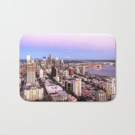 Seattle Skyline Harbor at Sunset Bath Mat