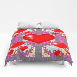 Red Hearts Valentines & Grey-Purple Art Patterns Comforters