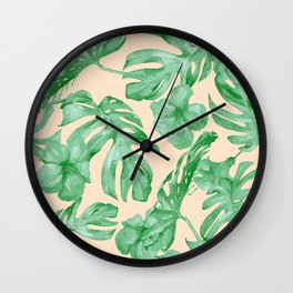 Tropical Coral Green Leaves Flower Pattern Wall Clock