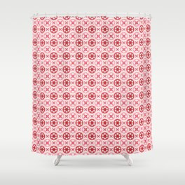 Chinoiseries Porcelain Tiles Red Shower Curtain