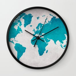 Map of the World - Blue Steel Wall Clock