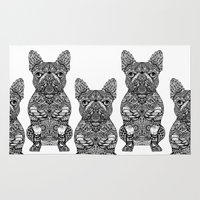 frenchie Area & Throw Rugs featuring Mandala Frenchie by Huebucket