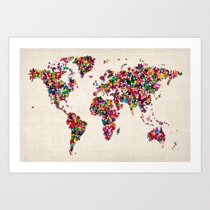 Butterflies Map of the World Map Art Print