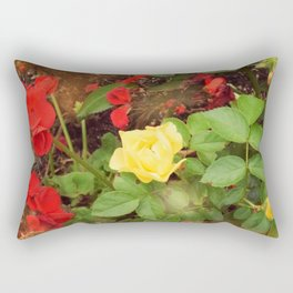 Yellow Rose With Red Geranium Rectangular Pillow